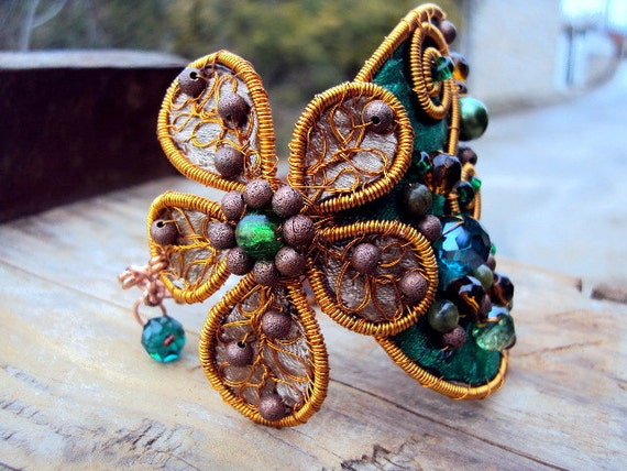 Rich cuff bracelet- Copper and Satin- Emerald green and brown- Handmade- Flower and spirals-