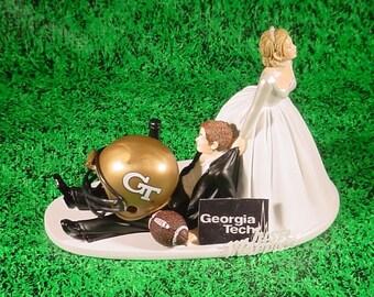 Georgia GA Tech College Football Couple Bride dragging Groom Fun Wedding Cake Topper, College Sports Lover, Custom Groom Cake Topper -2