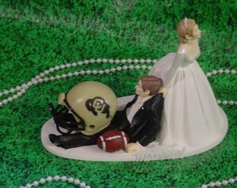College Football University of Colorado Buffalos Groom's Sports Fan Wedding Cake topper-Anxious Bride Fun Groom Weddings Mr Love Mrs -1