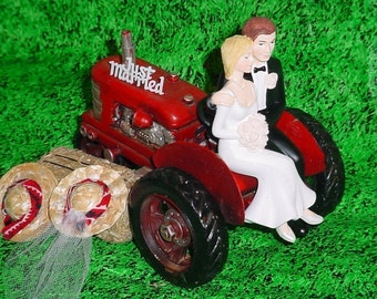 Tractor Farm County Outdoor Rustic Couple on Groom Wedding Cake Topper - RED Style2