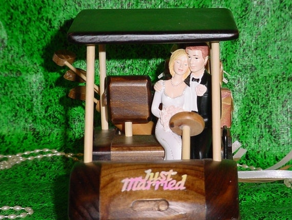 wedding cake toppers golf theme no golf wood golfing cart and groom by splendorlocity 26482