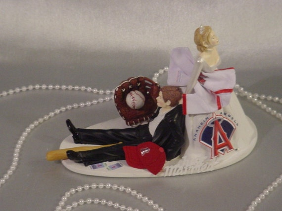 angels baseball wedding cake topper anaheim baseball fan sports wedding cake by 10763