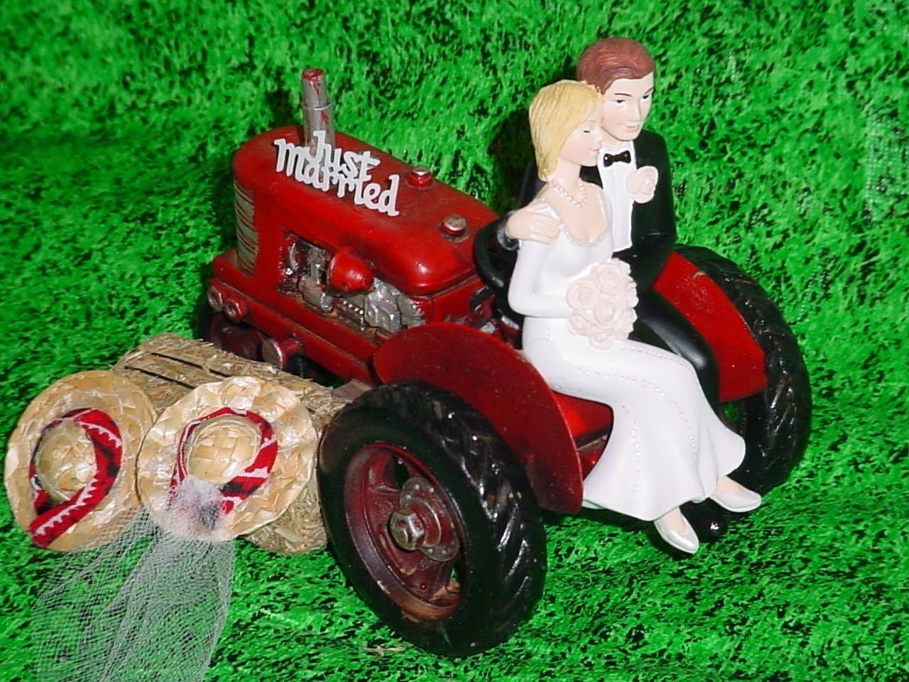 Red Tractor Farm County Rustic Wedding Cake Topper Style2