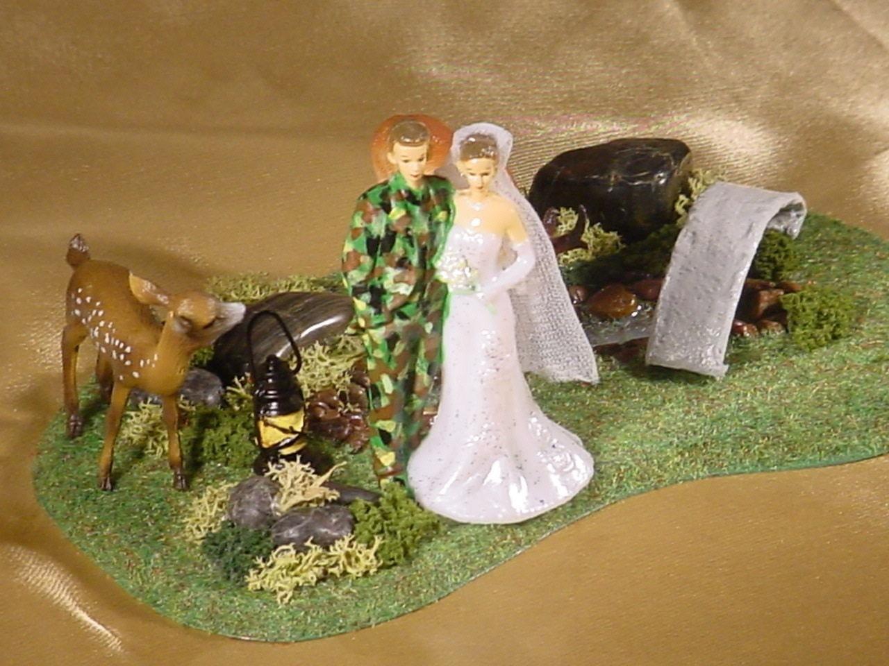 Camo Hunter Hunting Hunt Wedding Cake Topper by splendorlocity