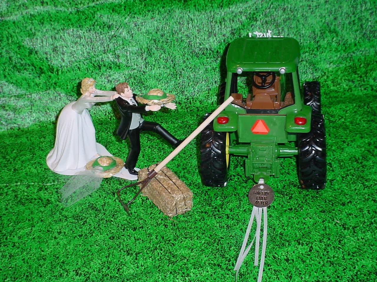 Running to the Altar Couple Country Farm Green Tractor Fun