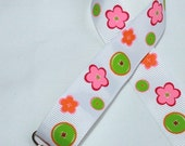 Flowers and Buttons Pacifier Paci  Binky Leash Holder Clip