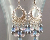 Blue, Pink, and Gray chandelier earrings