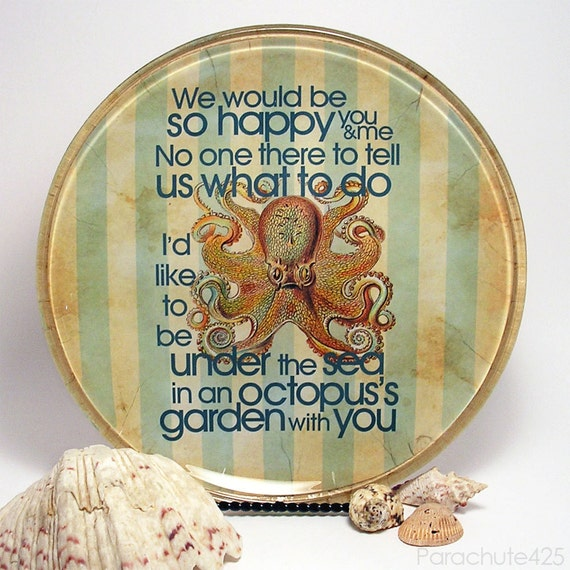 Octopus's Garden decoupage glass plate, summer, sea, beach home decor