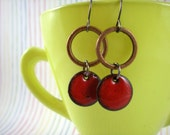 Copper Hoop Earrings - Red Circle