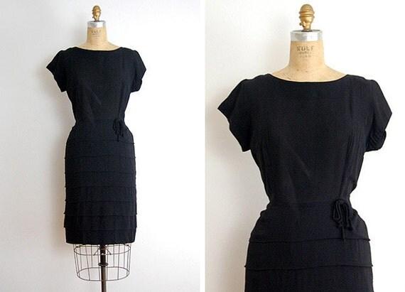vintage 1950s dress / vintage 50s dress little black vintage cocktail dress / 50s black dress