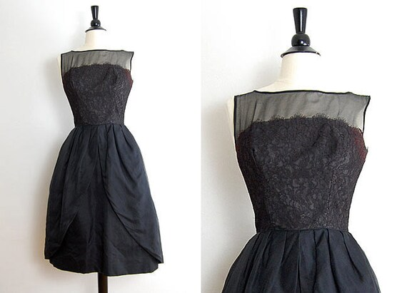 vintage 1950s dress - 50s party dress - black vintage dress