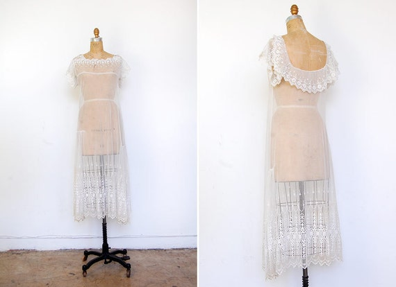 vintage 1920s dress / antique 1920s wedding dress sheer lace