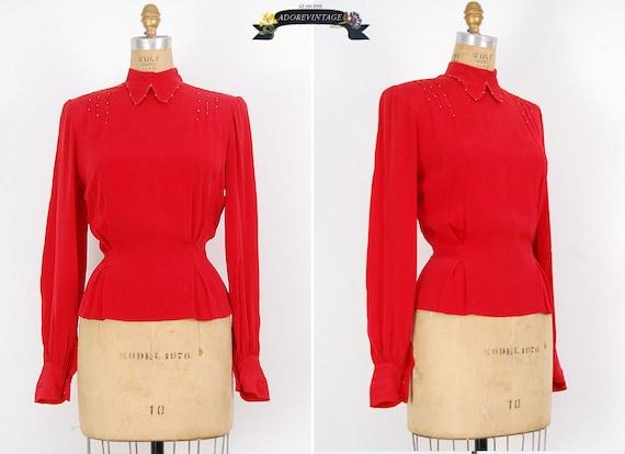 vintage 1940s blouse - vintage 1930s blouse - vintage 40s 30s silk top