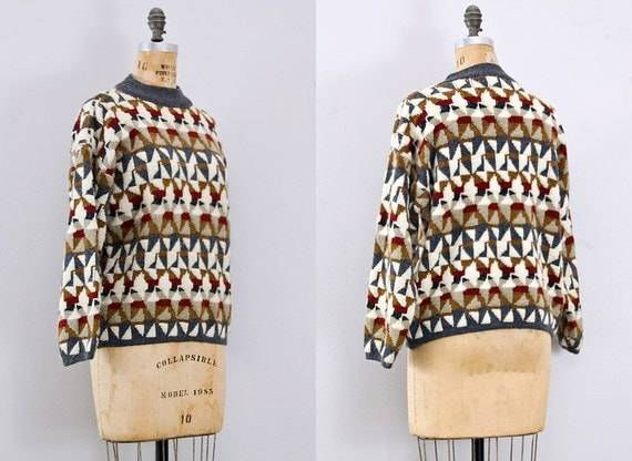vintage 1980s sweater / vintage geometric print sweater / 80s sweater
