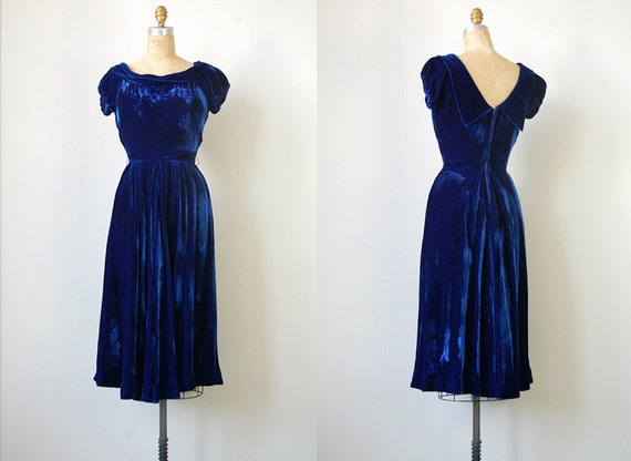 R E S E R V E D ...  vintage 1930s dress / vintage 30s dress / vintage blue velvet party dress