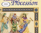 Angel Procession Musicians Counted Cross Stitch Embroidery Trumpet Lyre Lute Bell Ringer Drum French Horn Medieval Craft Pattern Leaflet 103
