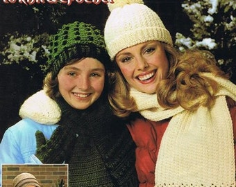 Hats Mittens and Scarves Gloves Striped Cable Ribs Basketweave Bobble Ripple Knit Crochet Adult Sizes Craft Pattern Leaflet Leisure Art 186