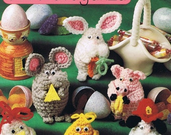 Animal Egg-stravaganza Easter Bunny Rabbit Pig Chick Mouse Rooster Dog Cow Sheep Eagle Crochet Craft Pattern Leaflet 8B084 Annie's Attic