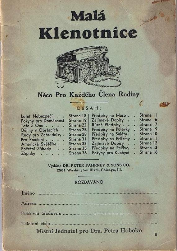 Mala Klenotnice Little Jewel Vintage 1940s Cook Book in Czech