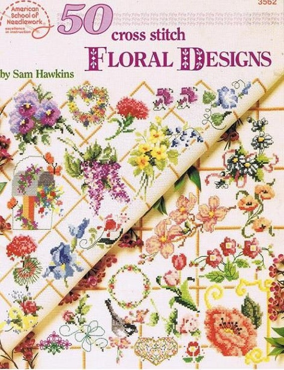 50 Cross Stitch Floral Designs Counted Embroidery Pansies CArnations Iris Daisy Rose Heart Wreath Vine Birds Craft Pattern Leaflet 3562