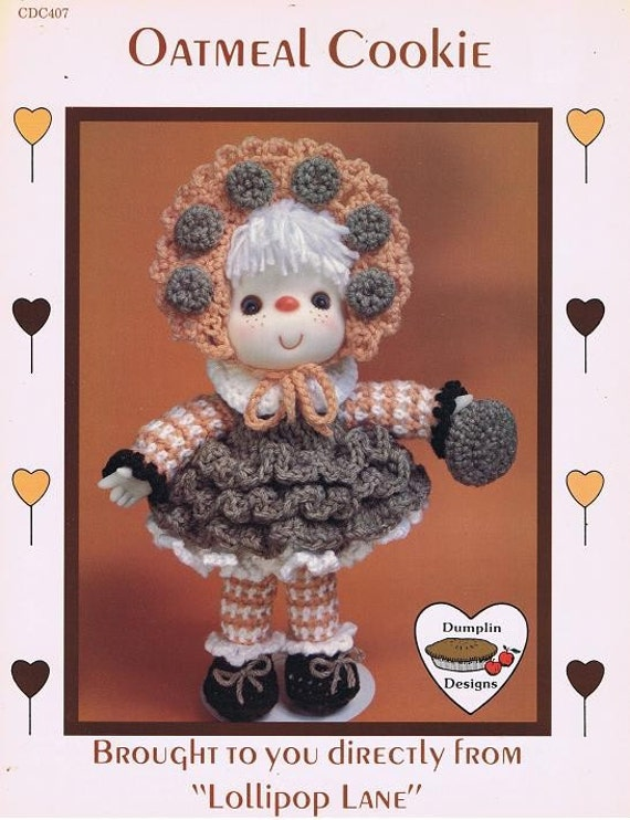 Oatmeal Cookie Crocheted 14 Inch Soft Body Doll Craft Pattern Leaflet