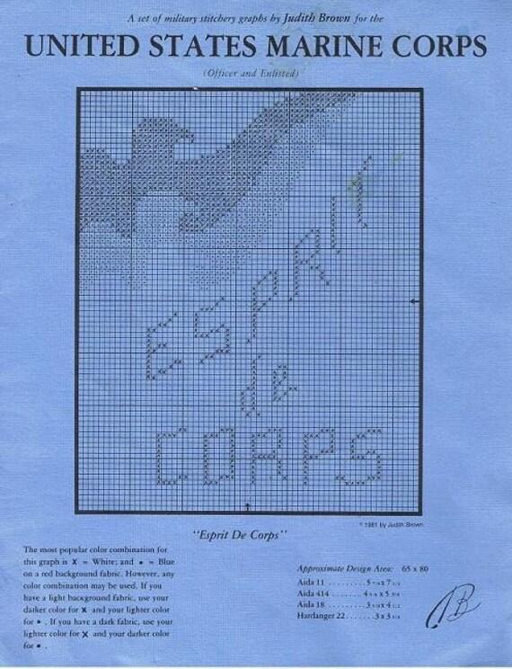 Esprit De Corps US Marine Corps Logo Cross Stitch Craft Pattern Leaflet