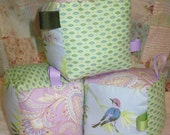 Fabric Block Set made with Amy Butler retired Temple Flowers Beautiful Baby Gift