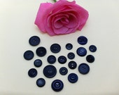 Dark Blue Reclaimed Vintage Buttons VB088