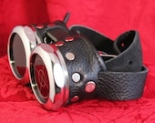 Steampunk Goggles black and silver with ruby red lenses