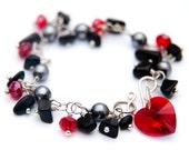 Crystal Heart Bracelet Silver, Pearl, Crystal and Gemstone Bracelet - Gray, Black and Red Bracelet, Swarovski Heart