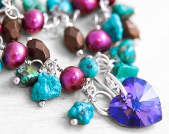 Crystal Heart Bracelet - Silver, Pearl and Gemstone Bracelet - Turquoise, Fuchsia, Coffee Brown and Royal Purple Blue Heliotrope