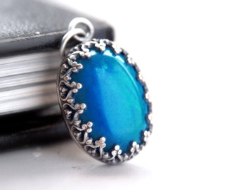 Blue Gemstone Pendant Sterling Silver, Antique Silver Filigree Pendant, Vivid Electric Blue Howlite Oxidized Bezel Pendant Gothic Style