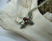 Darling Diminutive Steampunk Style Butterfly Necklace with Deep Ruby Crystal Accent