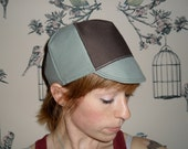 Custom sage and brown cycling cap for Nolaboy. RESERVED LISTING
