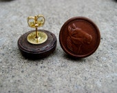 Upcycled Leather Horse Button Earring Studs