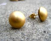 Matte Gold Button Stud Earrings