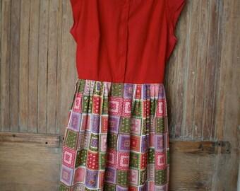 60s Swirl dress / novelty print dress / 1960s dress / Patch work squares dress