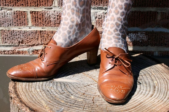 RESERVED for MISH Hermione grows up, lace up stacked wood heeled oxfords