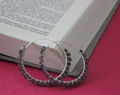 Iolite Wire Wrapped Hoops