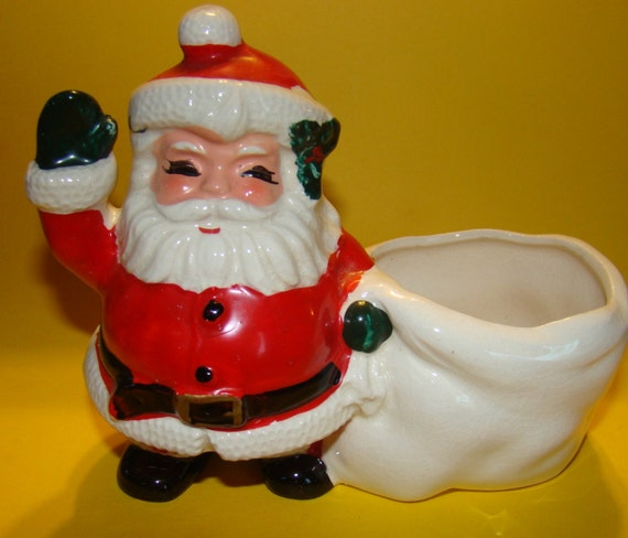 Ceramic SANTA with CANDY DISH, from the 1950/60's