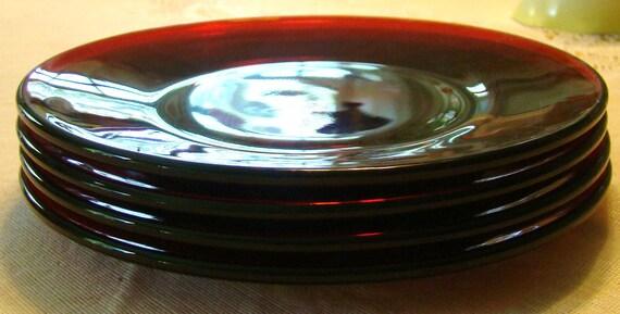 4 Depression Era Ruby Red Salad or Dessert Plates