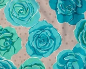 Valori Wells Olive Rose Collection for Free Spirit - Rose in Teal 1 Yard