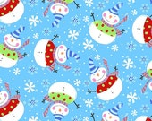 Studio E - RR Merrytown Snowmen in Blue from Merrytown whimsical collection  - 1 Yard