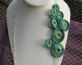 Circles and Chains Necklace Turquoise and Sea Green
