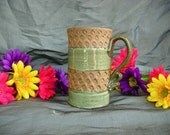 SALE - Ceramic Mug in Spring Green and Speckled Brown