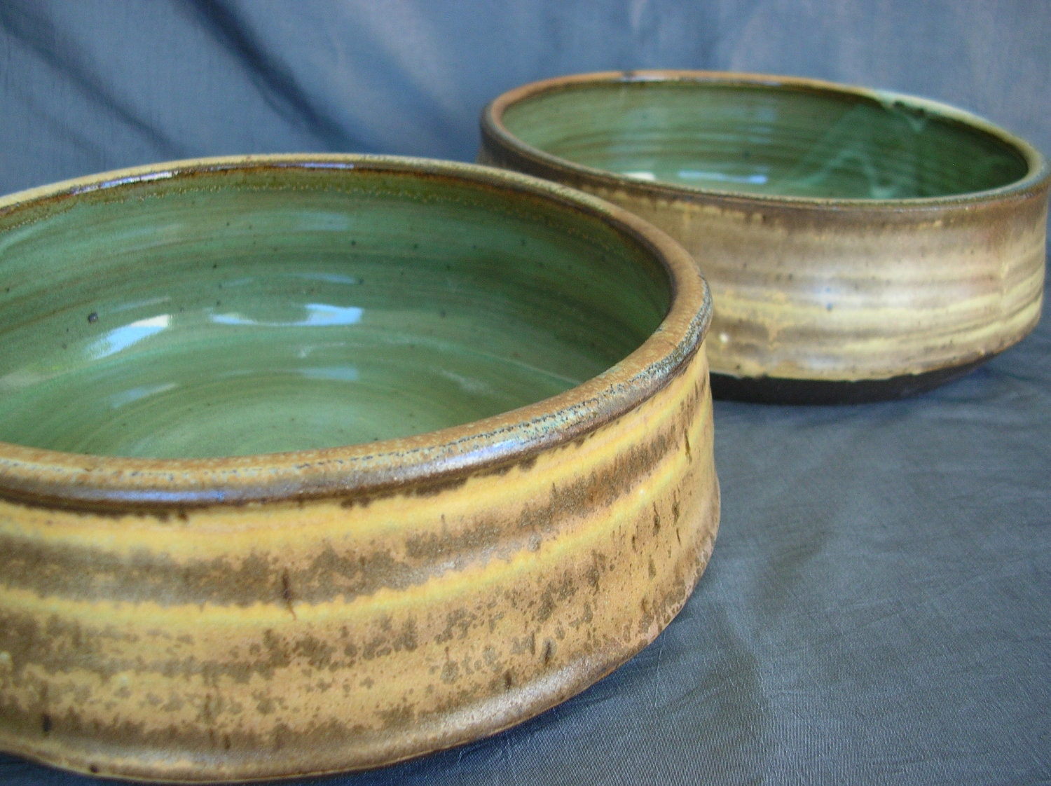 Large Ceramic Dog Bowl Set In Autumn Yellow And Spring Green
