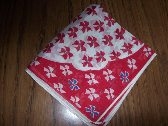 Vintage Red White and Blue Handkerchief