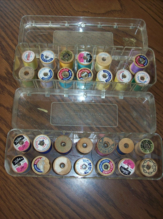 Sale  2 Tidee Maid Thread Boxes with 27 Wooden Thread Spools With Thread Was 16.00