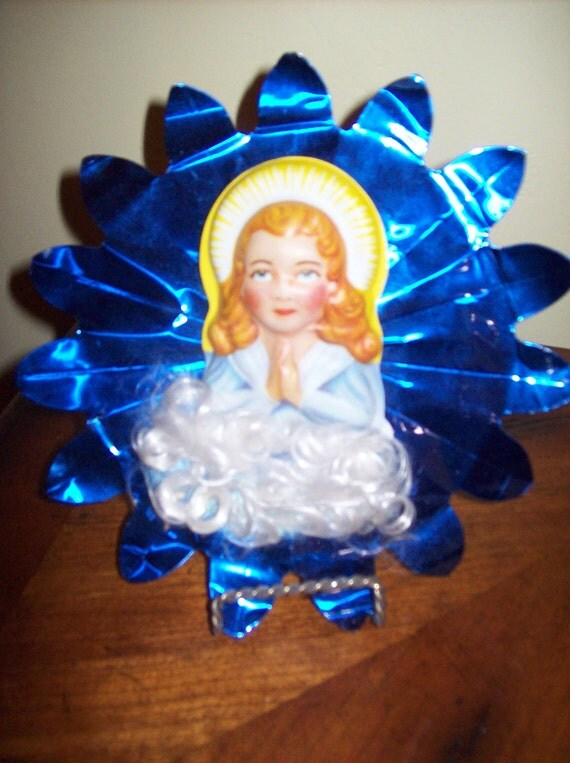 Vintage Blue Foil Tree Topper With Blessed Mary On White Cloud