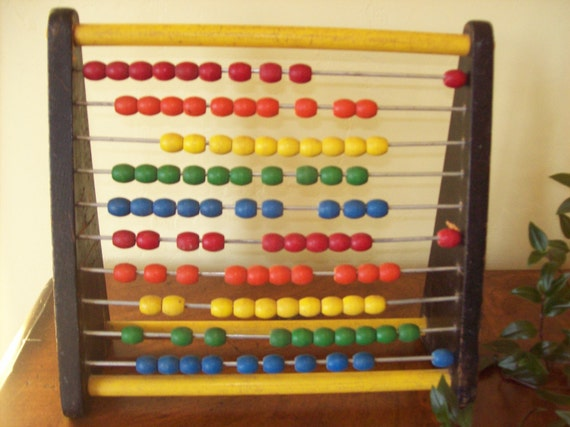 Vintage Wooden Holgate Toy Abacus Counting Frame for Math Colorful
